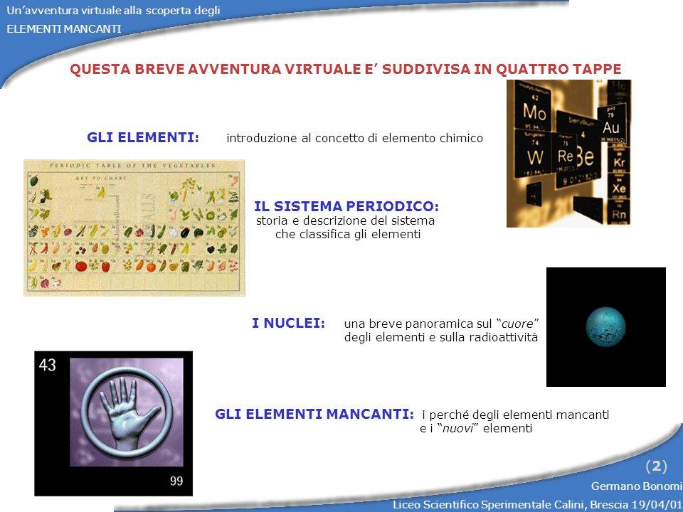 Unavventura virtuale alla scoperta degli ELEMENTI MANCANTI Germano Bonomi Liceo Scientifico Sperimentale Calini, Brescia 19/04/01 (2)(2) QUESTA BREVE