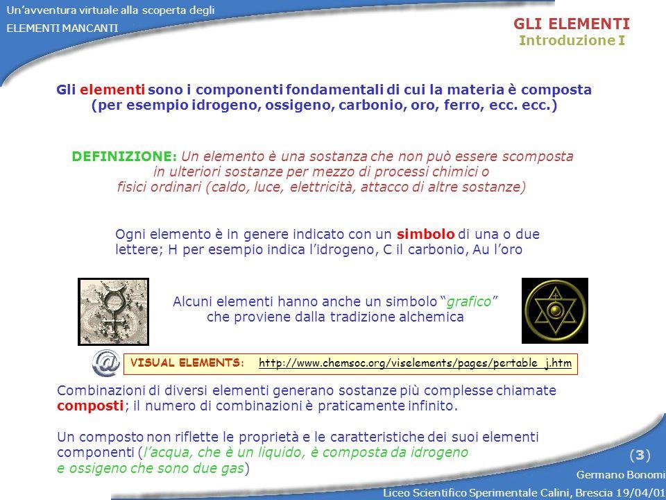Unavventura virtuale alla scoperta degli ELEMENTI MANCANTI Germano Bonomi Liceo Scientifico Sperimentale Calini, Brescia 19/04/01 (3)(3) GLI ELEMENTI