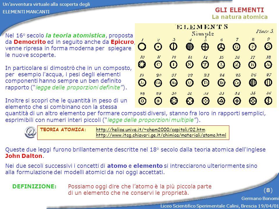 Unavventura virtuale alla scoperta degli ELEMENTI MANCANTI Germano Bonomi Liceo Scientifico Sperimentale Calini, Brescia 19/04/01 (8)(8) GLI ELEMENTI