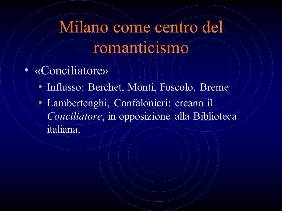 Milano come centro del romanticismo «Conciliatore» Influsso: Berchet, Monti, Foscolo, Breme Lambertenghi, Confalonieri: creano il Conciliatore, in opp