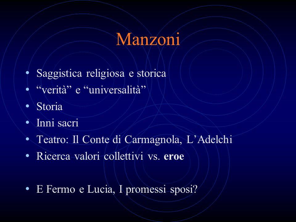 Manzoni Saggistica religiosa e storica verità e universalità Storia Inni sacri Teatro: Il Conte di Carmagnola, LAdelchi Ricerca valori collettivi vs.