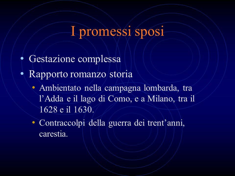 I promessi sposi Gestazione complessa Rapporto romanzo storia Ambientato nella campagna lombarda, tra lAdda e il lago di Como, e a Milano, tra il 1628