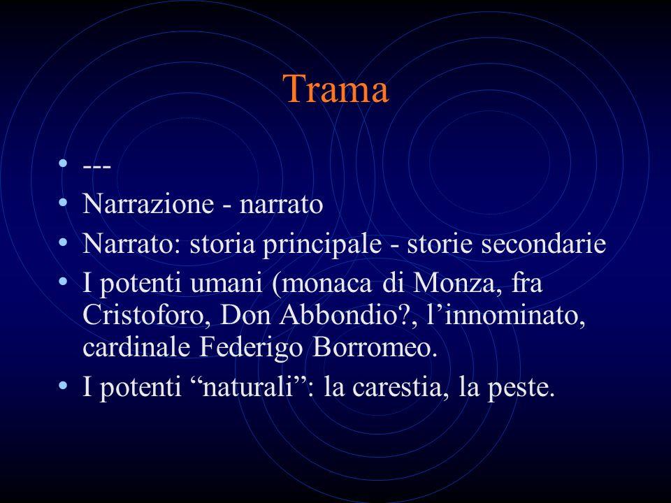 Trama --- Narrazione - narrato Narrato: storia principale - storie secondarie I potenti umani (monaca di Monza, fra Cristoforo, Don Abbondio?, linnomi
