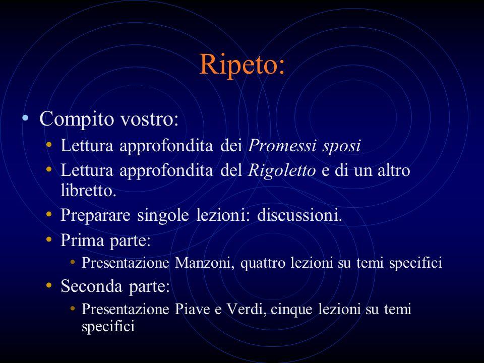 Ripeto: Compito vostro: Lettura approfondita dei Promessi sposi Lettura approfondita del Rigoletto e di un altro libretto. Preparare singole lezioni:
