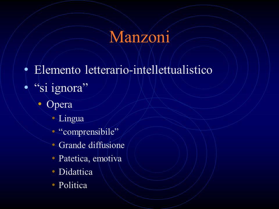 Manzoni Elemento letterario-intellettualistico si ignora Opera Lingua comprensibile Grande diffusione Patetica, emotiva Didattica Politica