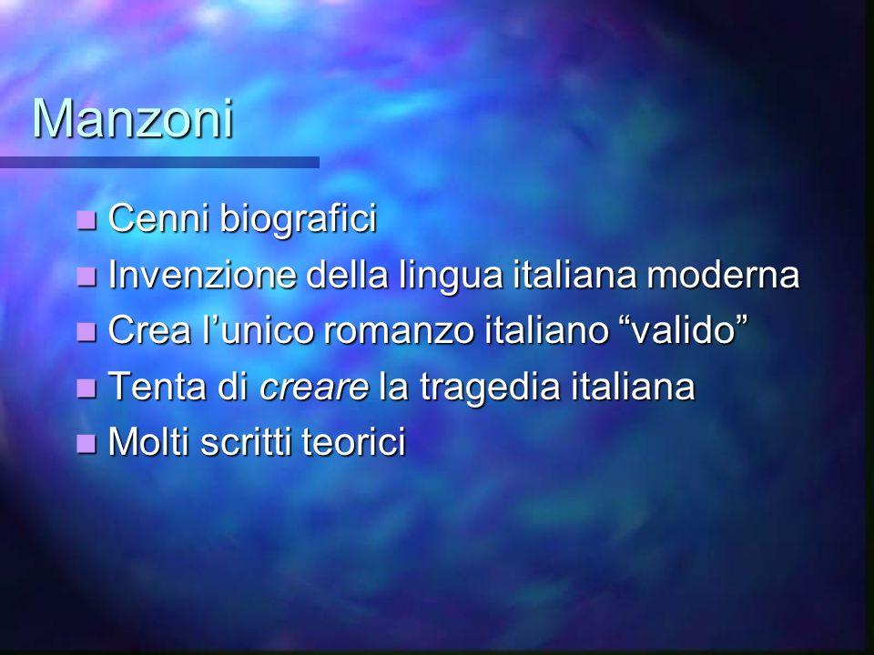 Manzoni Cenni biografici Cenni biografici Invenzione della lingua italiana moderna Invenzione della lingua italiana moderna Crea lunico romanzo italia