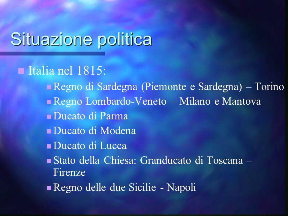 Situazione politica Italia nel 1815: Regno di Sardegna (Piemonte e Sardegna) – Torino Regno Lombardo-Veneto – Milano e Mantova Ducato di Parma Ducato