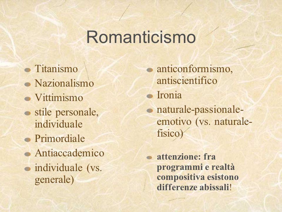 Romanticismo Titanismo Nazionalismo Vittimismo stile personale, individuale Primordiale Antiaccademico individuale (vs. generale) anticonformismo, ant