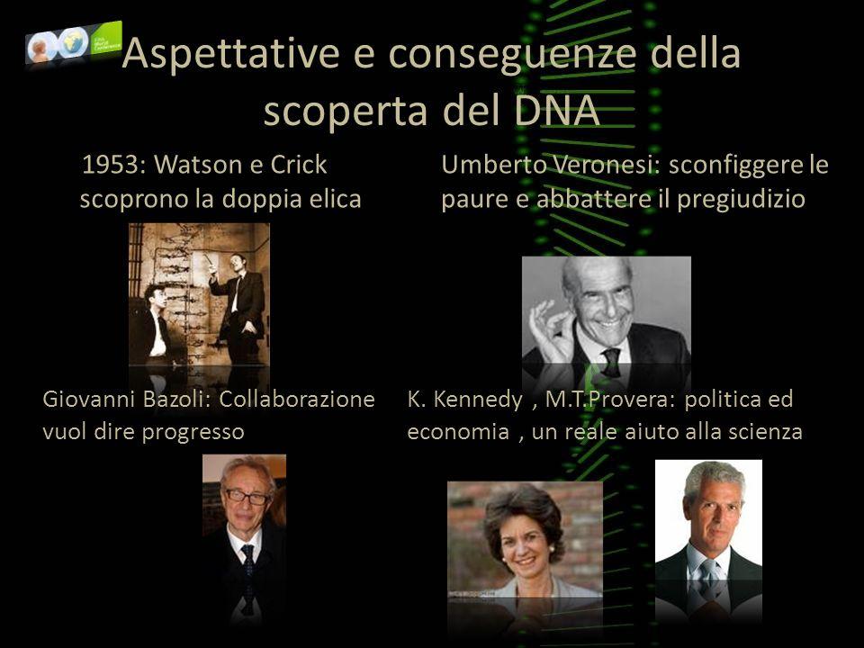 Aspettative e conseguenze della scoperta del DNA 1953: Watson e Crick scoprono la doppia elica Umberto Veronesi: sconfiggere le paure e abbattere il p