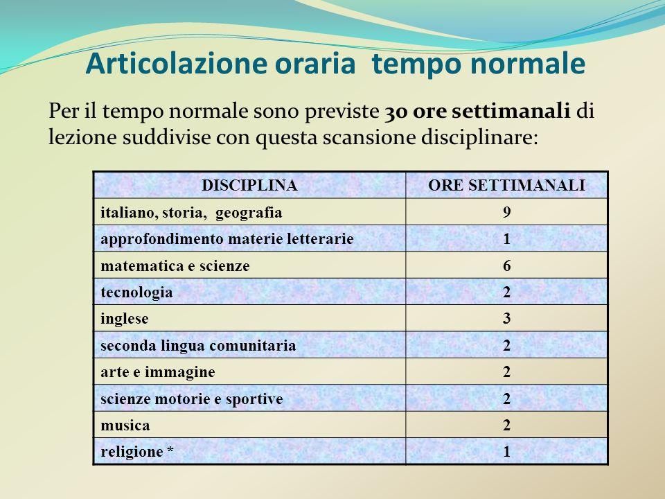 Per il tempo normale sono previste 30 ore settimanali di lezione suddivise con questa scansione disciplinare: DISCIPLINAORE SETTIMANALI italiano, stor