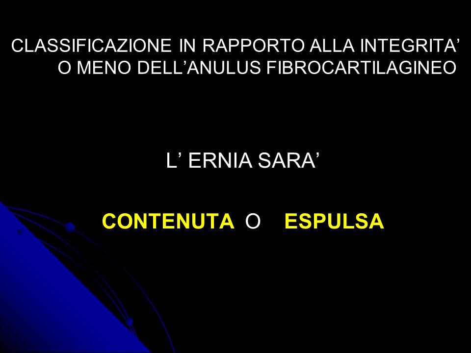 CLASSIFICAZIONE IN RAPPORTO ALLA INTEGRITA O MENO DELLANULUS FIBROCARTILAGINEO L ERNIA SARA CONTENUTA O ESPULSA