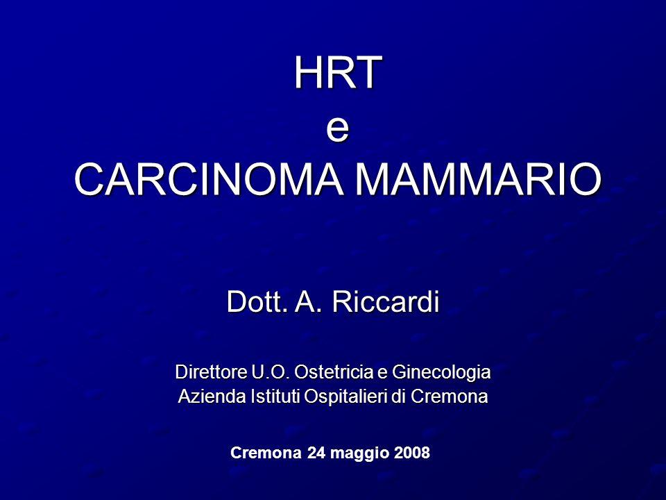 HRT e CARCINOMA MAMMARIO Dott. A. Riccardi Direttore U.O. Ostetricia e Ginecologia Azienda Istituti Ospitalieri di Cremona Cremona 24 maggio 2008
