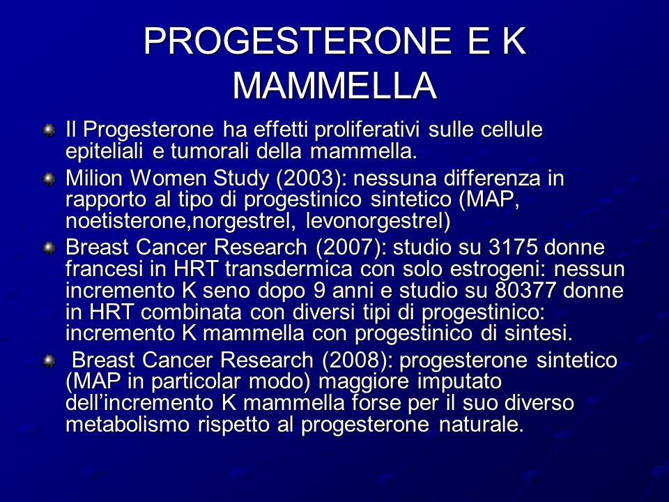 PROGESTERONE E K MAMMELLA Il Progesterone ha effetti proliferativi sulle cellule epiteliali e tumorali della mammella. Milion Women Study (2003): ness