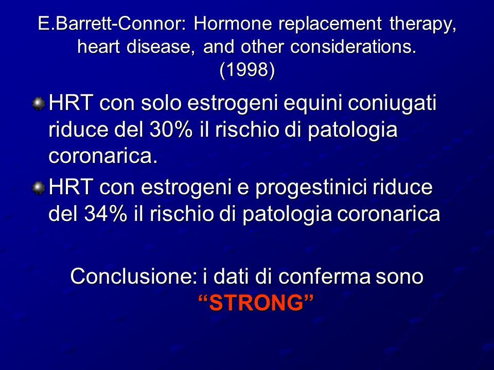 52.705 donne con un tumore della mammella 108.411 donne senza tumore della mammella HRT utilizzato nel 30% dei casi (n=5482) 34% del gruppo di controllo (n=12348) Durata della terapia sostitutiva > 5 anni 34% delle utilizzatrici Età media di inizio della terapia: 48 anni il 96% delle utilizzatrici ha iniziato l HRT prima di 60 anni il 92% delle utilizzatrici ha smesso di assumere la terapia prima di 65 anni solo il 2% di coloro che utilizzano la terapia hanno 75 anni o più Età media al momento della diagnosi: 60 anni Analisi dei dati su HRT e carcinoma mammario Lancet, october 1997