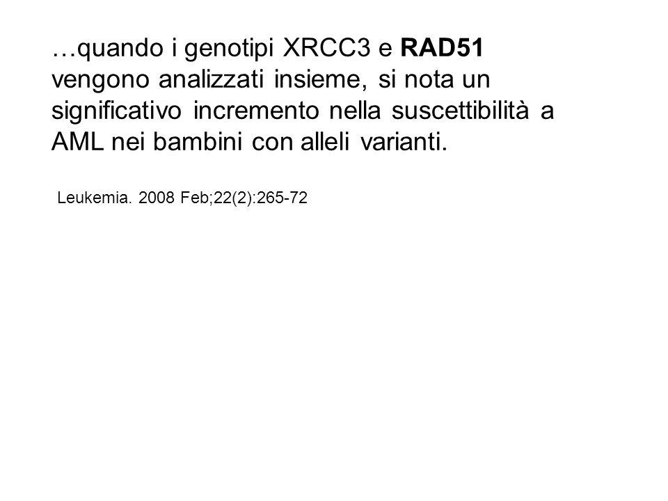 …quando i genotipi XRCC3 e RAD51 vengono analizzati insieme, si nota un significativo incremento nella suscettibilità a AML nei bambini con alleli var