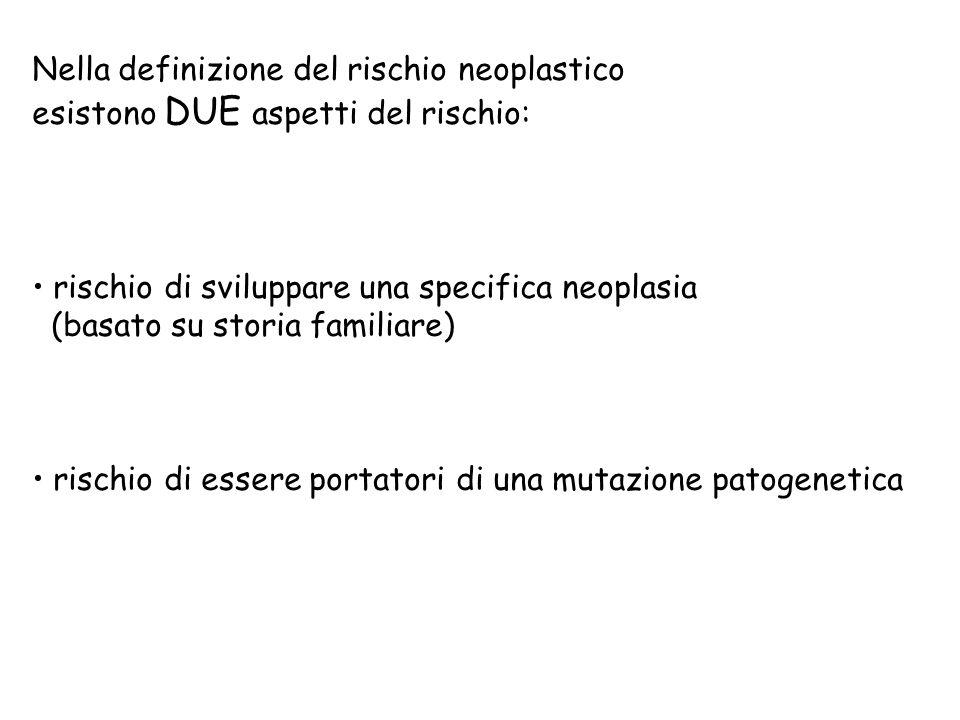 Nella definizione del rischio neoplastico esistono DUE aspetti del rischio: rischio di sviluppare una specifica neoplasia (basato su storia familiare)