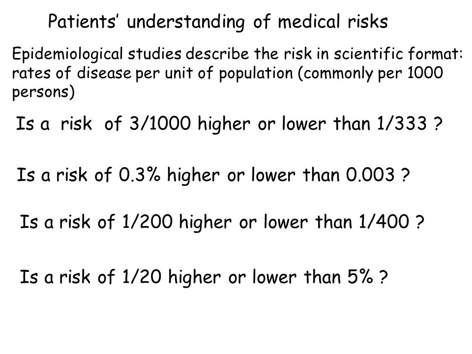 Patients understanding of medical risks Epidemiological studies describe the risk in scientific format: rates of disease per unit of population (commo