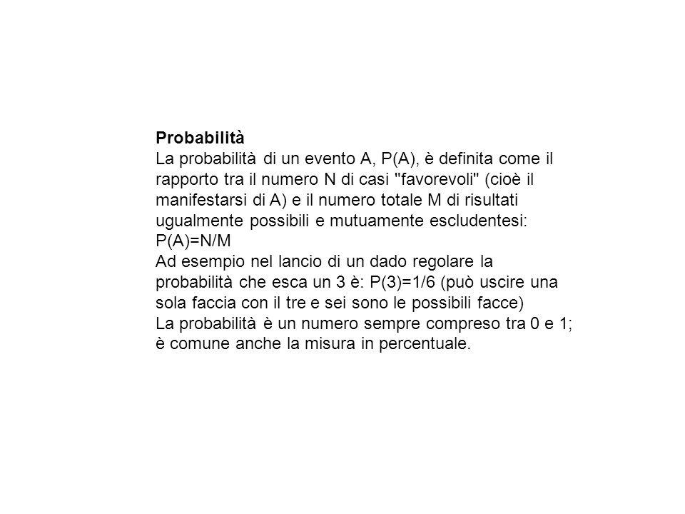 Probabilità La probabilità di un evento A, P(A), è definita come il rapporto tra il numero N di casi