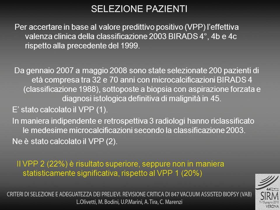 Per accertare in base al valore predittivo positivo (VPP) leffettiva valenza clinica della classificazione 2003 BIRADS 4°, 4b e 4c rispetto alla precedente del 1999.