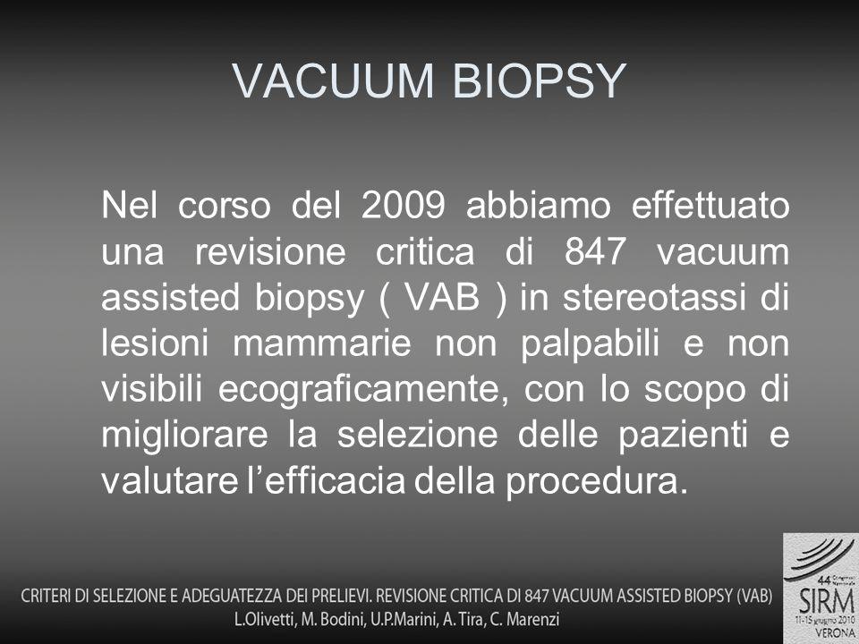 Nel corso del 2009 abbiamo effettuato una revisione critica di 847 vacuum assisted biopsy ( VAB ) in stereotassi di lesioni mammarie non palpabili e non visibili ecograficamente, con lo scopo di migliorare la selezione delle pazienti e valutare lefficacia della procedura.