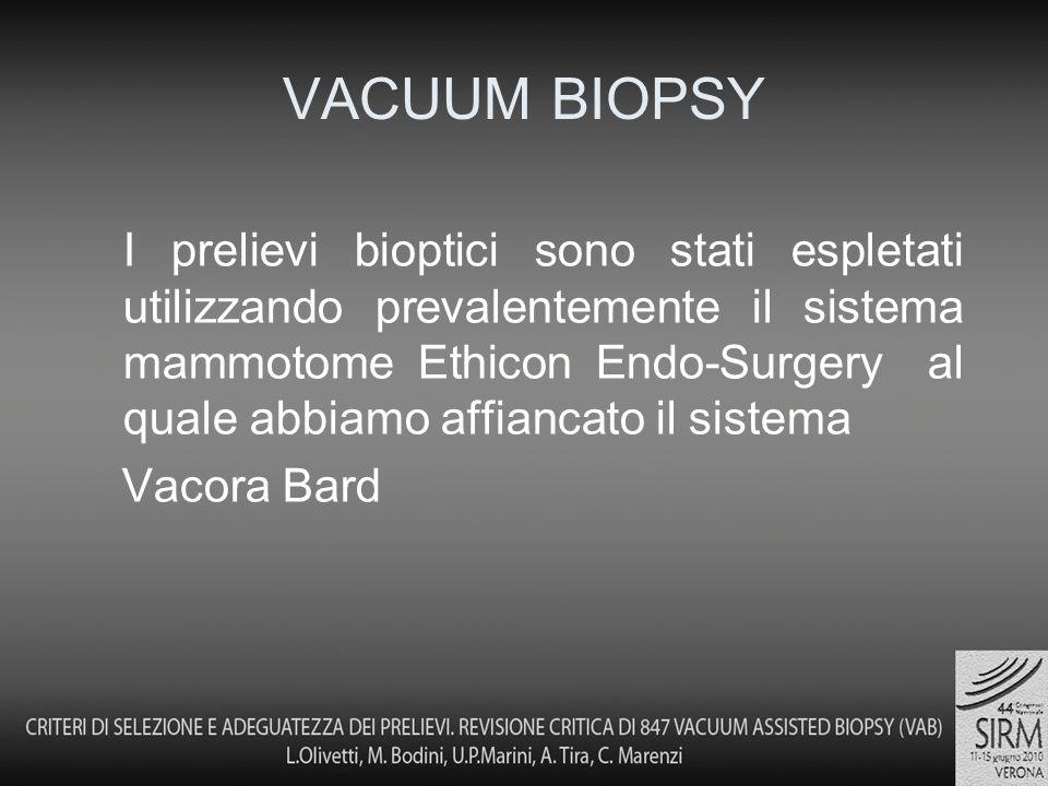 I prelievi bioptici sono stati espletati utilizzando prevalentemente il sistema mammotome Ethicon Endo-Surgery al quale abbiamo affiancato il sistema Vacora Bard VACUUM BIOPSY