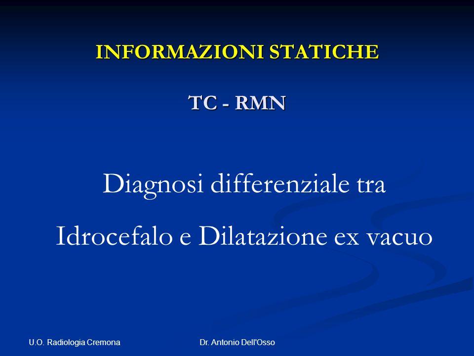 U.O. Radiologia Cremona Dr. Antonio Dell'Osso INFORMAZIONI STATICHE TC - RMN Diagnosi differenziale tra Idrocefalo e Dilatazione ex vacuo