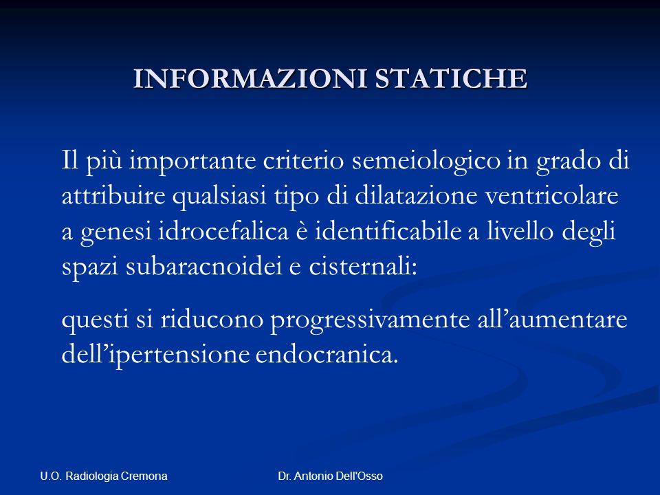 U.O. Radiologia Cremona Dr. Antonio Dell'Osso INFORMAZIONI STATICHE Il più importante criterio semeiologico in grado di attribuire qualsiasi tipo di d
