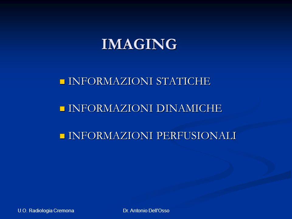 U.O. Radiologia Cremona Dr. Antonio Dell'Osso IMAGING INFORMAZIONI STATICHE INFORMAZIONI STATICHE INFORMAZIONI DINAMICHE INFORMAZIONI DINAMICHE INFORM