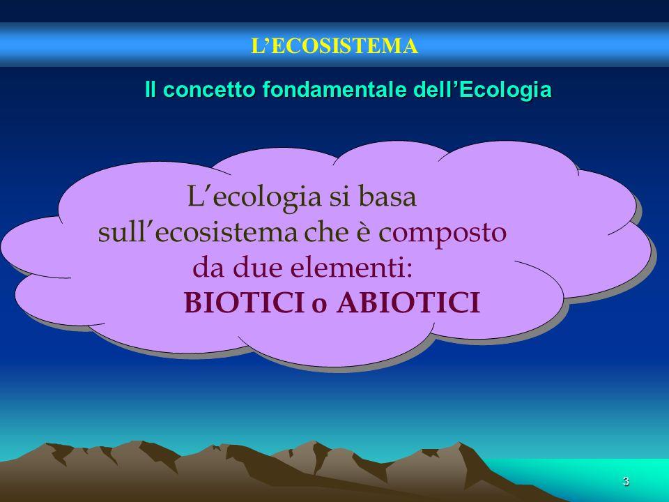 3 LECOSISTEMA Il concetto fondamentale dellEcologia Lecologia si basa sullecosistema che è composto da due elementi: BIOTICI o ABIOTICI Lecologia si b