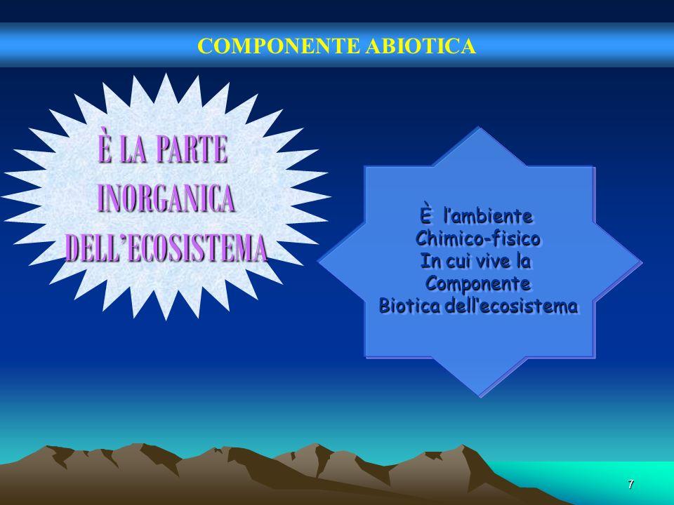 7 COMPONENTE ABIOTICA È LA PARTE INORGANICADELLECOSISTEMA È lambiente Chimico-fisico In cui vive la Componente Biotica dellecosistema È lambiente Chim