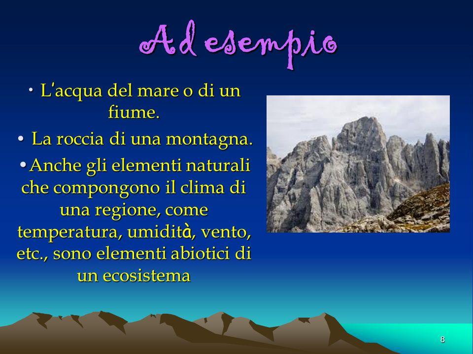 8 Ad esempio L acqua del mare o di un fiume. L acqua del mare o di un fiume. La roccia di una montagna. La roccia di una montagna. Anche gli elementi