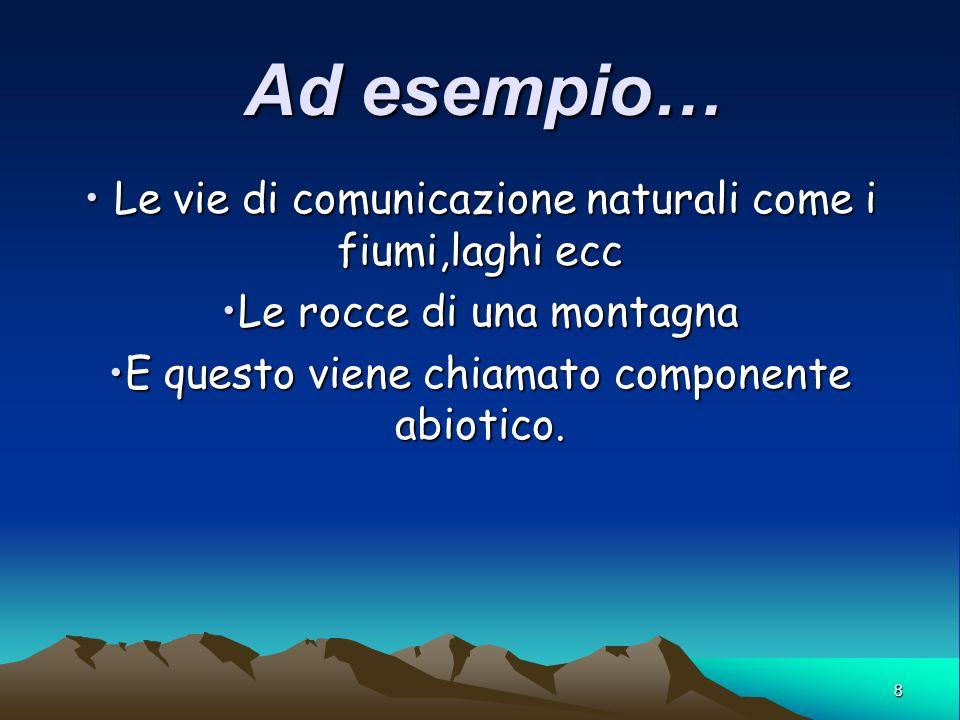 8 Ad esempio… Le vie di comunicazione naturali come i fiumi,laghi ecc Le vie di comunicazione naturali come i fiumi,laghi ecc Le rocce di una montagna