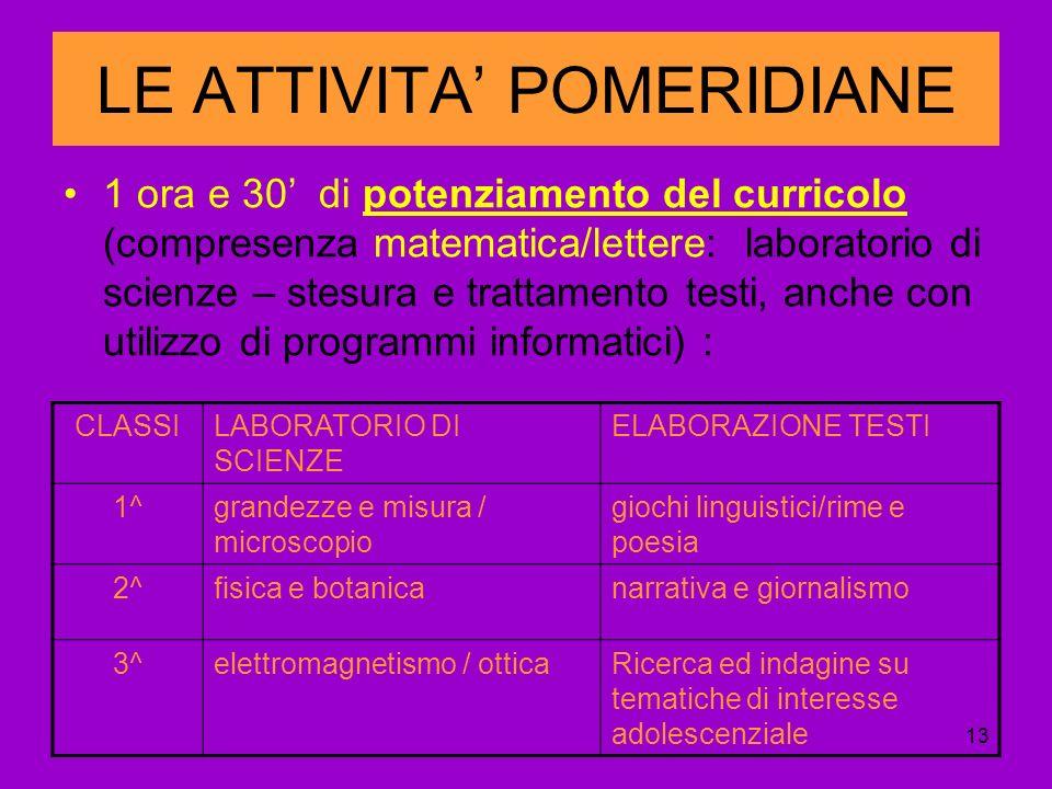 13 LE ATTIVITA POMERIDIANE 1 ora e 30 di potenziamento del curricolo (compresenza matematica/lettere: laboratorio di scienze – stesura e trattamento testi, anche con utilizzo di programmi informatici) : CLASSILABORATORIO DI SCIENZE ELABORAZIONE TESTI 1^grandezze e misura / microscopio giochi linguistici/rime e poesia 2^fisica e botanicanarrativa e giornalismo 3^elettromagnetismo / otticaRicerca ed indagine su tematiche di interesse adolescenziale
