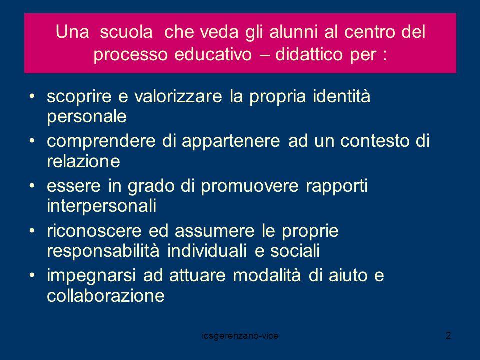 icsgerenzano-vice3 CONTINUUM FORMATIVO Finalità istituzionali della scuola dellinfanzia.