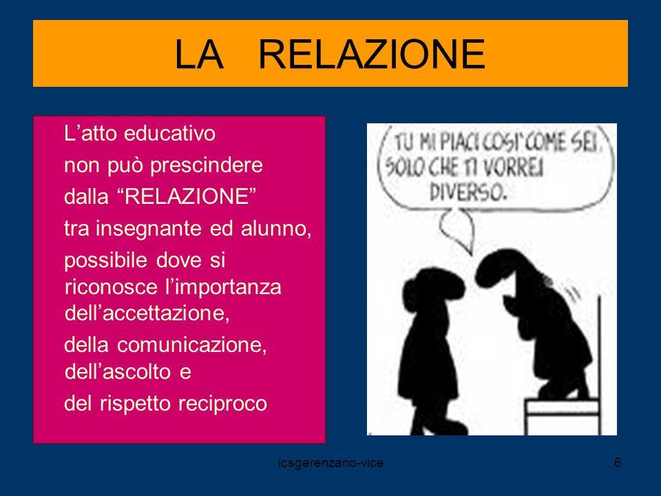 icsgerenzano-vice6 LA RELAZIONE Latto educativo non può prescindere dalla RELAZIONE tra insegnante ed alunno, possibile dove si riconosce limportanza