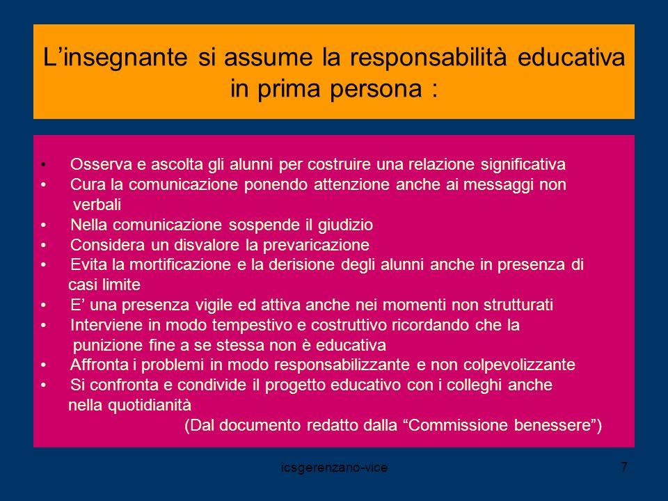icsgerenzano-vice7 Linsegnante si assume la responsabilità educativa in prima persona : Osserva e ascolta gli alunni per costruire una relazione signi