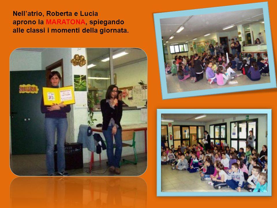 Nellatrio, Roberta e Lucia aprono la MARATONA, spiegando alle classi i momenti della giornata.