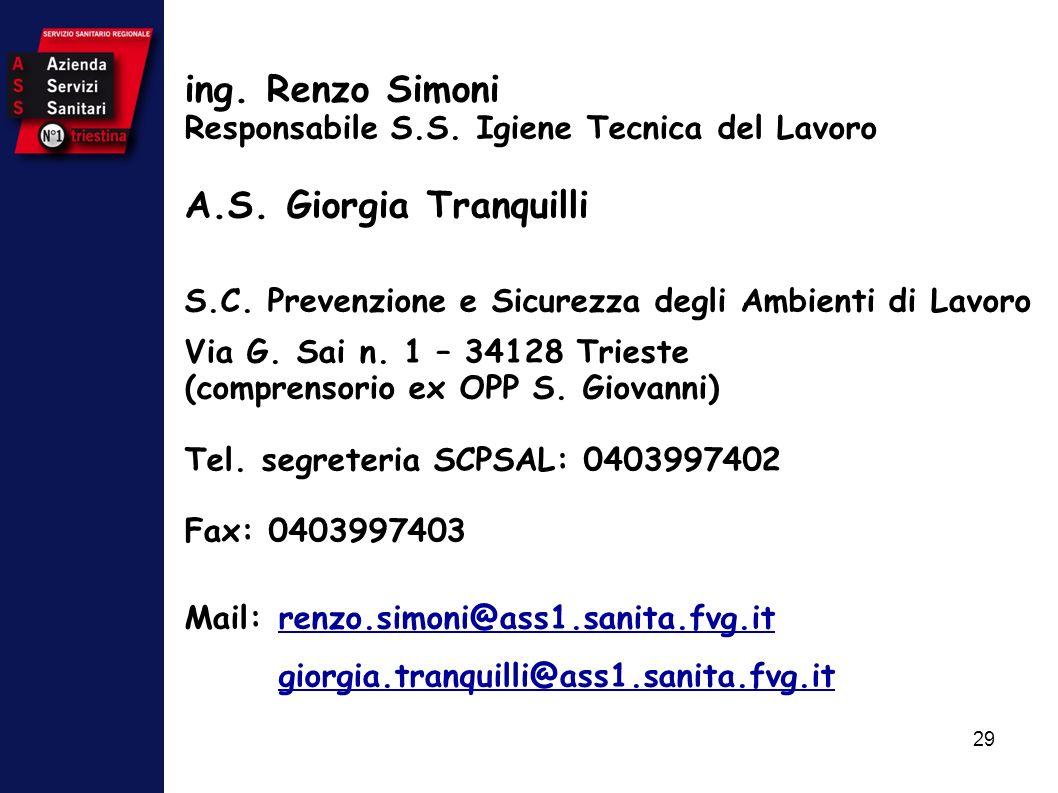 29 ing. Renzo Simoni Responsabile S.S. Igiene Tecnica del Lavoro A.S. Giorgia Tranquilli S.C. Prevenzione e Sicurezza degli Ambienti di Lavoro Via G.