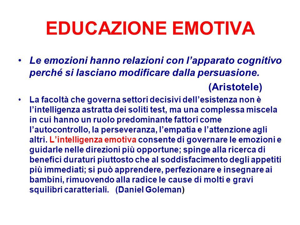 EDUCAZIONE EMOTIVA Le emozioni hanno relazioni con lapparato cognitivo perché si lasciano modificare dalla persuasione. (Aristotele) La facoltà che go
