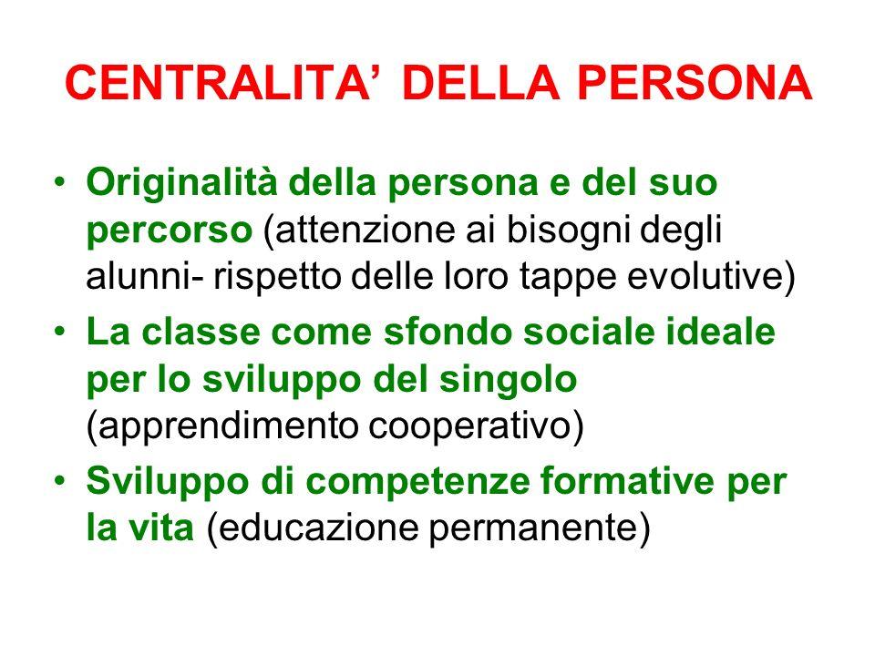 CENTRALITA DELLA PERSONA Originalità della persona e del suo percorso (attenzione ai bisogni degli alunni- rispetto delle loro tappe evolutive) La cla