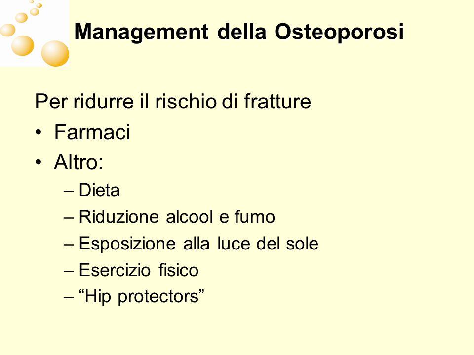 Management della Osteoporosi Per ridurre il rischio di fratture Farmaci Altro: –Dieta –Riduzione alcool e fumo –Esposizione alla luce del sole –Eserci