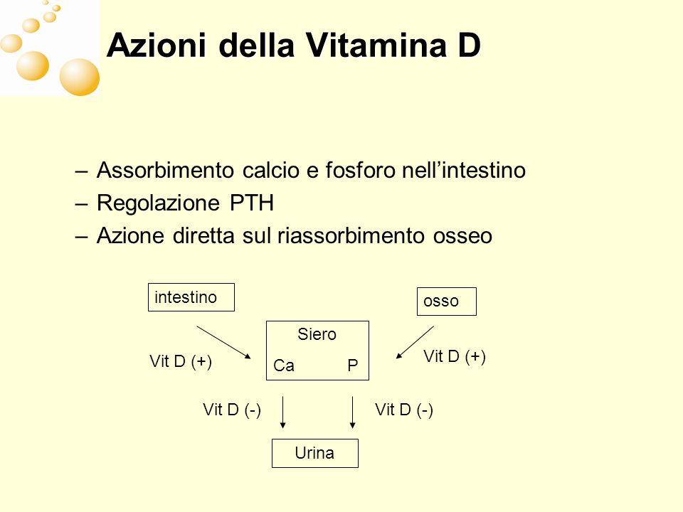 Azioni della Vitamina D –Assorbimento calcio e fosforo nellintestino –Regolazione PTH –Azione diretta sul riassorbimento osseo Siero Ca P intestino os