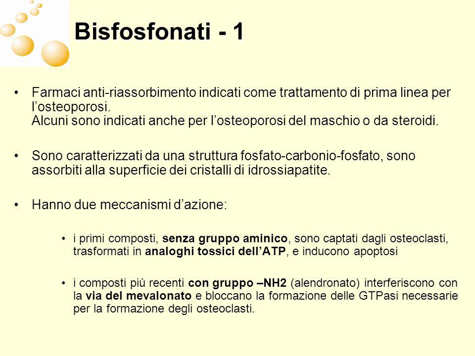Bisfosfonati - 1 Farmaci anti-riassorbimento indicati come trattamento di prima linea per losteoporosi. Alcuni sono indicati anche per losteoporosi de