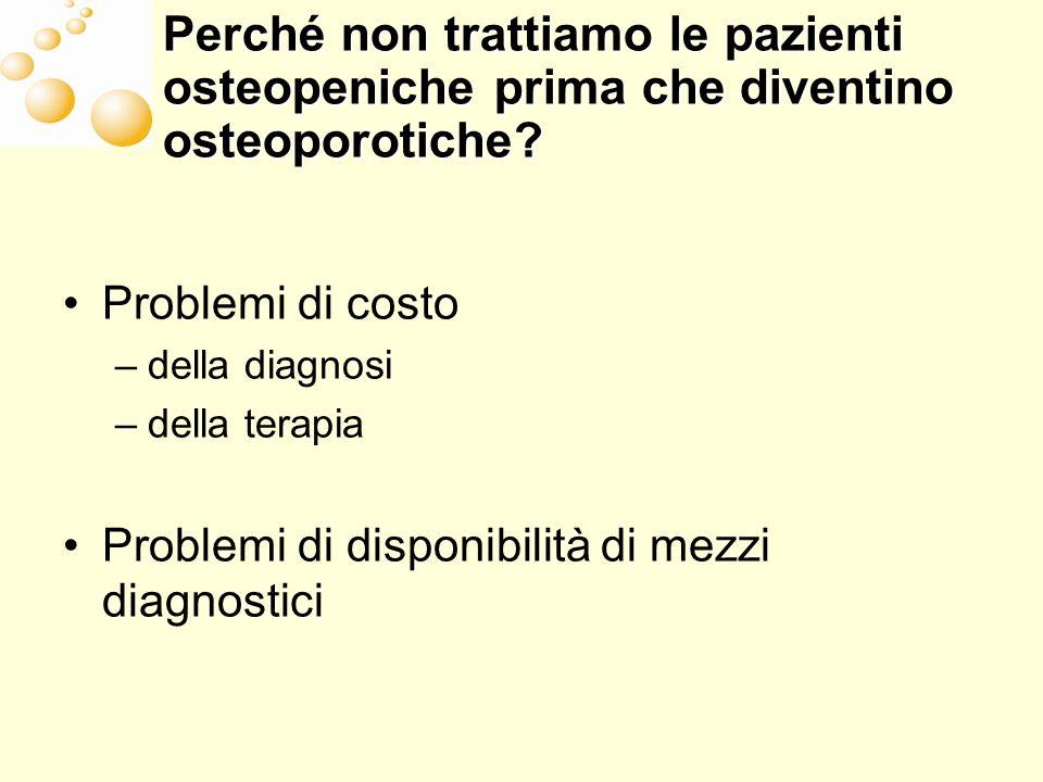 Perché non trattiamo le pazienti osteopeniche prima che diventino osteoporotiche? Problemi di costo –della diagnosi –della terapia Problemi di disponi