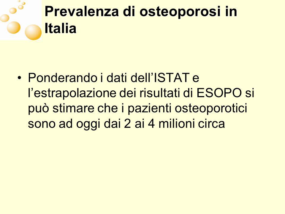 Prevalenza di osteoporosi in Italia Ponderando i dati dellISTAT e lestrapolazione dei risultati di ESOPO si può stimare che i pazienti osteoporotici sono ad oggi dai 2 ai 4 milioni circa