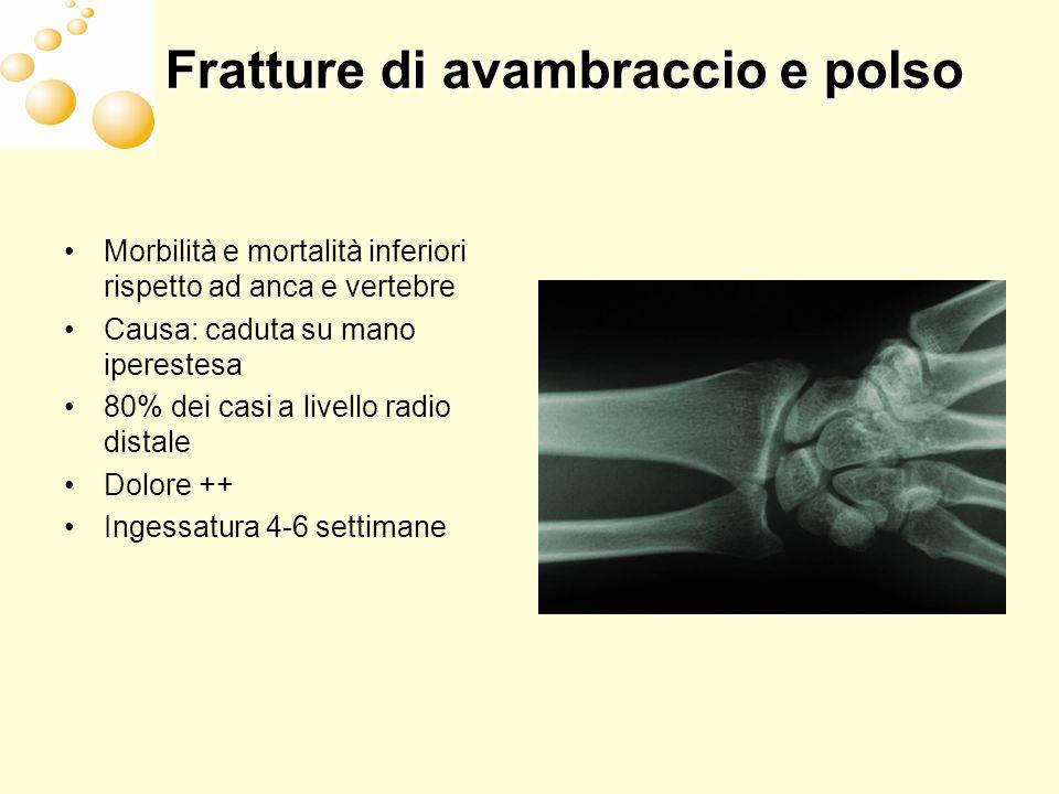 Fratture di avambraccio e polso Morbilità e mortalità inferiori rispetto ad anca e vertebre Causa: caduta su mano iperestesa 80% dei casi a livello radio distale Dolore ++ Ingessatura 4-6 settimane