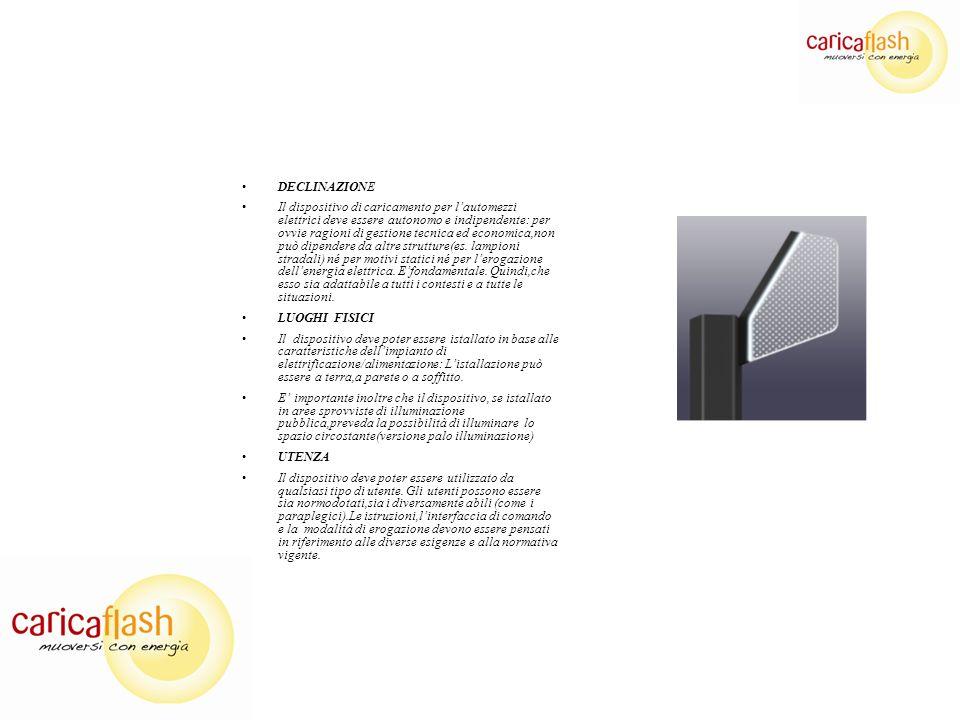DECLINAZIONE Il dispositivo di caricamento per lautomezzi elettrici deve essere autonomo e indipendente: per ovvie ragioni di gestione tecnica ed economica,non può dipendere da altre strutture(es.