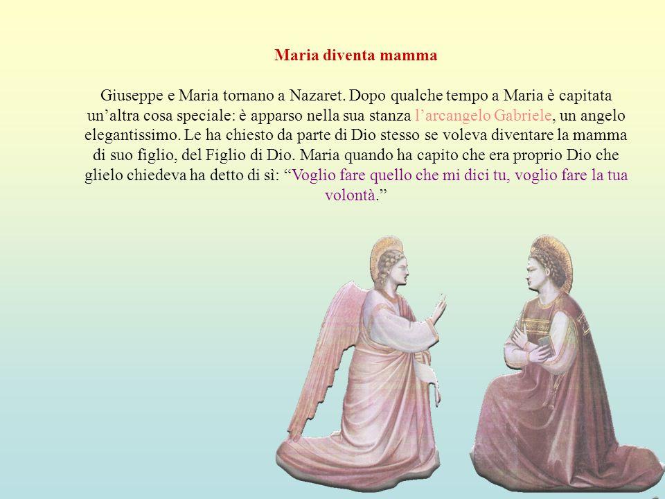 Maria diventa mamma Giuseppe e Maria tornano a Nazaret. Dopo qualche tempo a Maria è capitata unaltra cosa speciale: è apparso nella sua stanza larcan