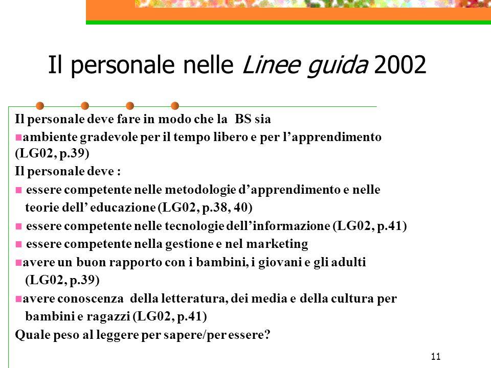 11 Il personale nelle Linee guida 2002 Il personale deve fare in modo che la BS sia ambiente gradevole per il tempo libero e per lapprendimento (LG02,