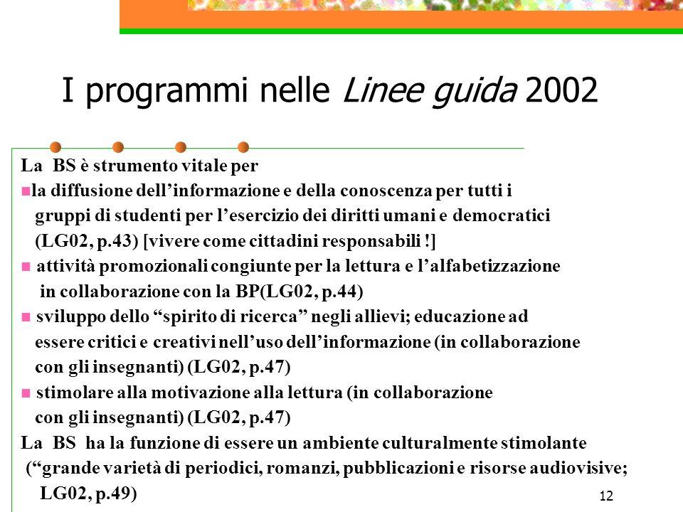 12 I programmi nelle Linee guida 2002 La BS è strumento vitale per la diffusione dellinformazione e della conoscenza per tutti i gruppi di studenti pe